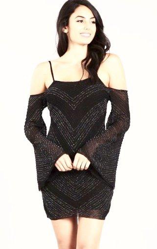 Black Bead Embellished Cold Shoulder Dress