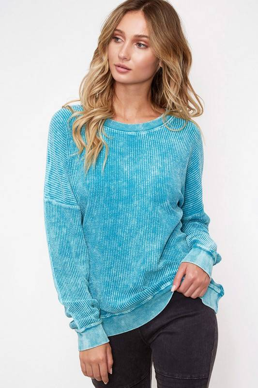 Emerald LS Ribbed Sweater