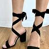 Black Lace Up Tie Heel