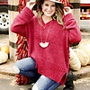 Berry V-Neck Chenille Sweater with Side Slits