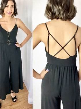 Black Deep V Back Criss Cross Jumpsuit