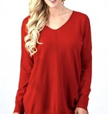 Red V-Neck Sweater Top