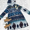 Blue Printed Hooded Tunic