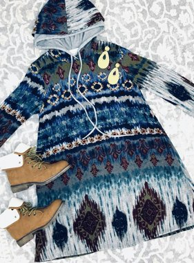 Blue Printed Hooded Tunic- SALE ITEM