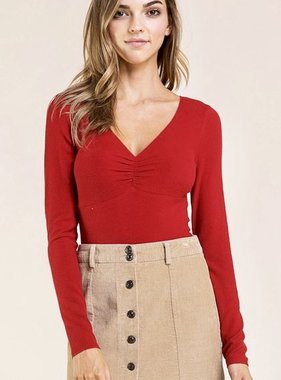 Deep Red Fitted Top