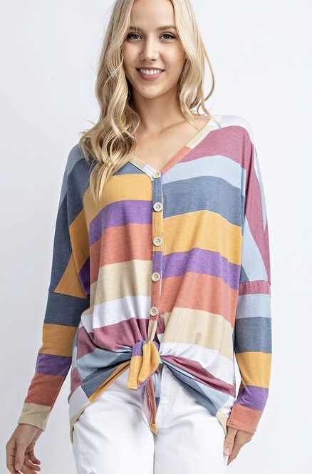 Multi Colored Striped LS Front Tie Button Up Top
