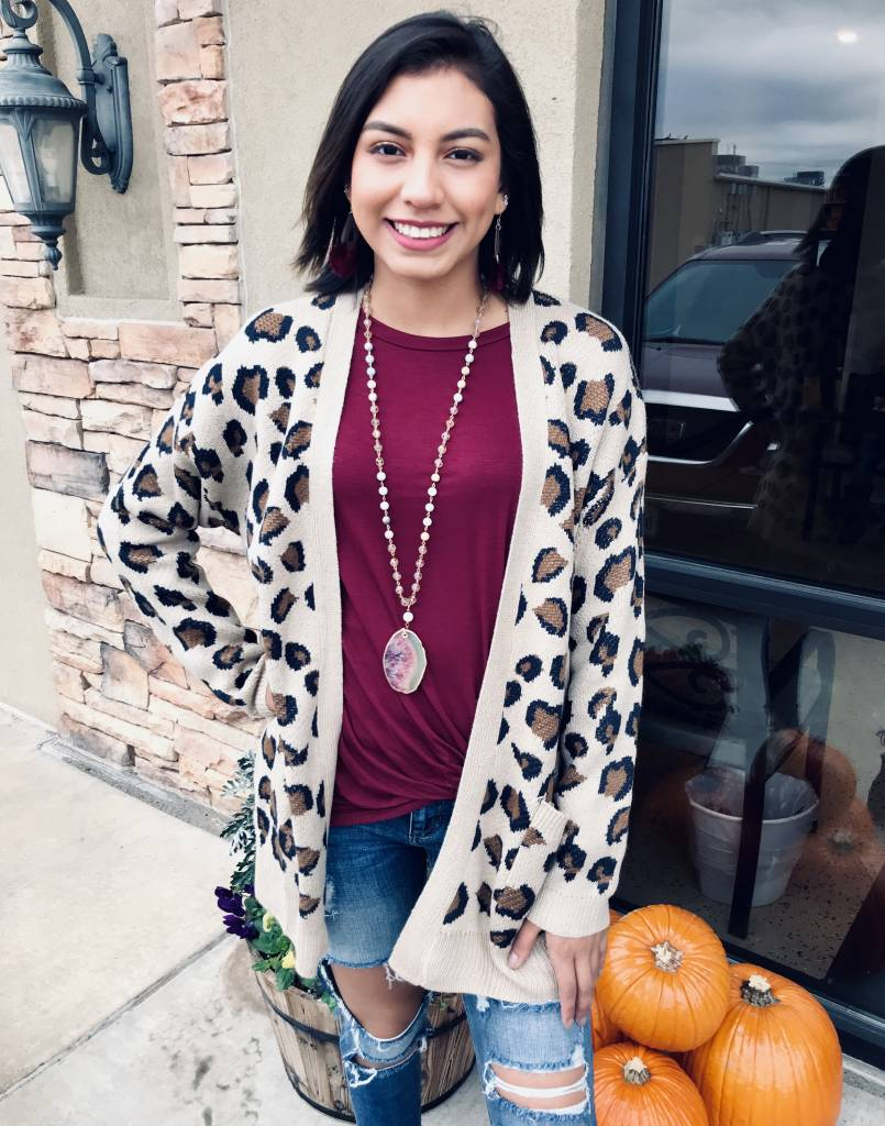 Brown Leopard Cardigan