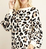 Leopard Print Sweater with Parachute Sleeve- More Colors