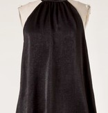Black Sleeveless Mock Neck Satin Top