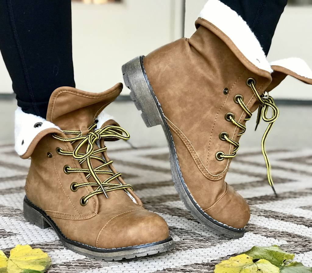 Tan Oily Nubuck Bootie with Wool Foldover