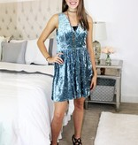 Steel Blue Crushed Velvet V-Cut Dress with Back Cutout