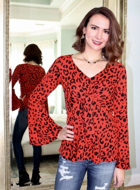 Red V-Neck Front Twist Bell Sleeve Top