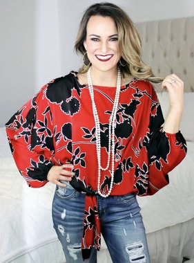 Red Puff Sleeve Floral Print Top
