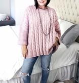 Light Mauve Cuffed Chenille Sweater