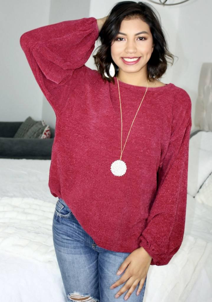 Fuchsia Chenille Puff Sleeve Sweater