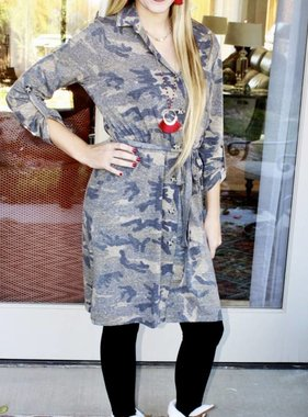 Camouflage Button Up Dress- SALE ITEM