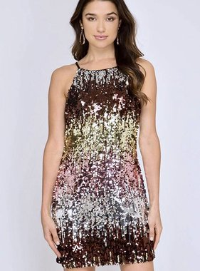Multi Color Sequin Bodycon Dress
