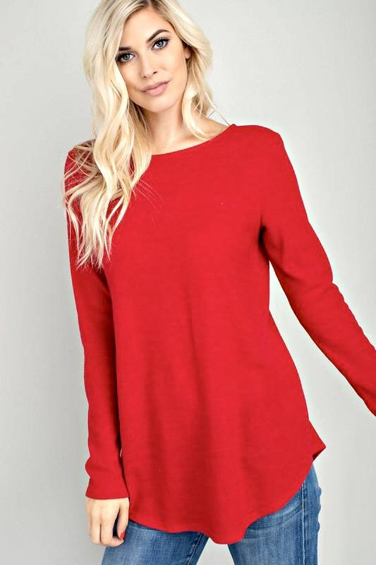 Red Long Sleeve Top with Criss Cross Back