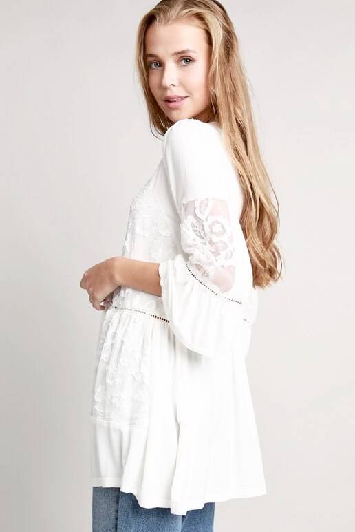 Ivory Lace Detailed Top with Ruffled Sleeve