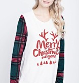 Merry Christmas Everyone Plaid Detail Top- SALE ITEM