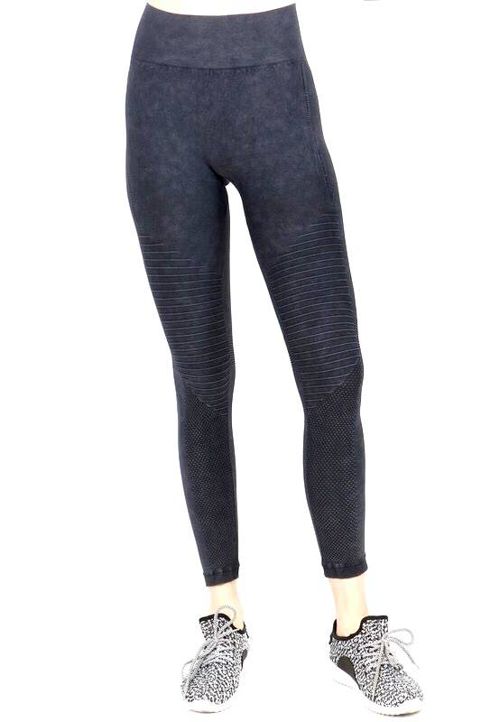 Vintage Wash Navy Moto Leggings