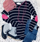 Black Striped LS Top with Pink Elbow Patch