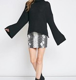Grey and Black Snake Skin Print Mini Skirt