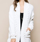 Cream Cable Knit Long Sleeve Cardigan
