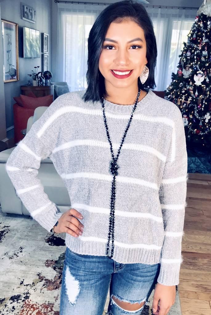 Grey Striped Chenille Sweater