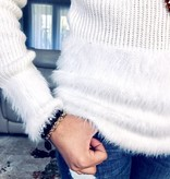 Cream Faux Fur Trimmed Sweater