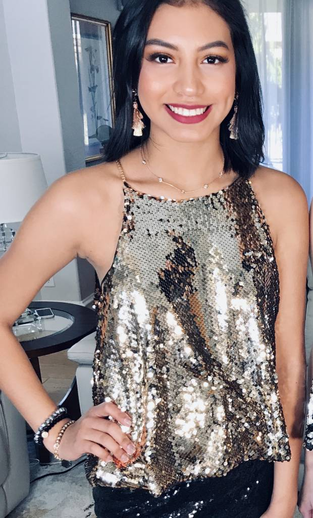 Sequin Cami Top with Chain Detail- More Colors