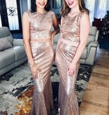 Rose Gold Sequin Skirt Set