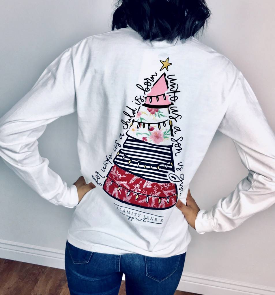 White Mixed Pattern Christmas Tree LS T-Shirt- SALE ITEM