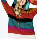 Teal Mix Multi Striped LS Top