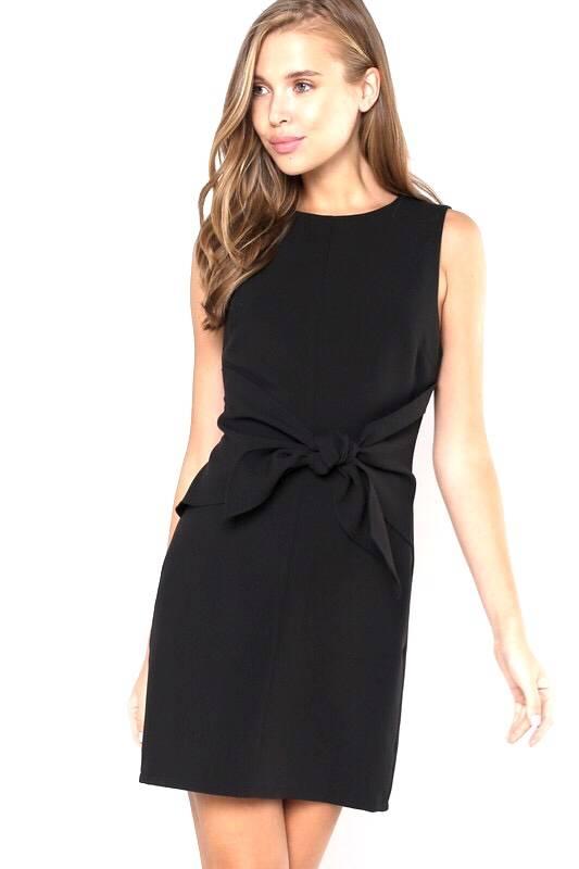 Black Classy Tie Waist Dress