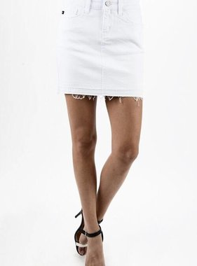 Kan Can White Frayed Denim Skirt