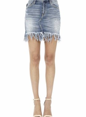 Kan Can Medium Wash Frayed Denim Skirt
