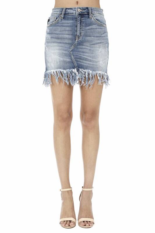 Kan Can Medium Wash Frayed Denim Skirt