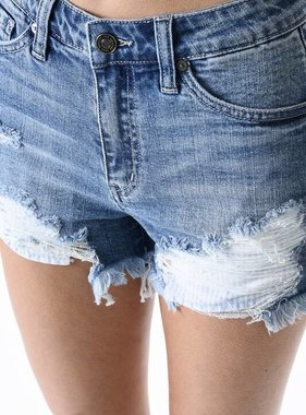 Kan Can Medium Wash Distressed Denim Shorts