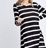 Black Striped Dress with Checkered Elbow Patch-SALE ITEM