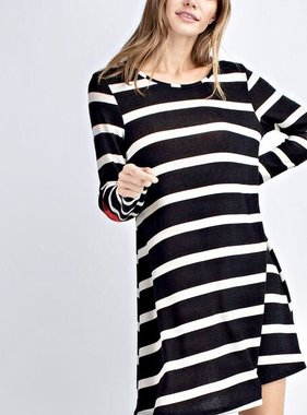 Black Striped Dress with Checkered Elbow Patch