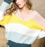 Teal Multi Blocked Cropped Sweater
