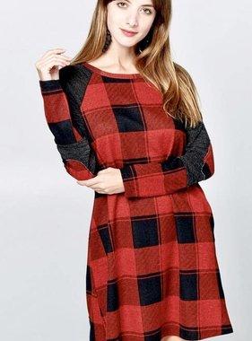 Red/Black Buffalo Plaid Swing Dress