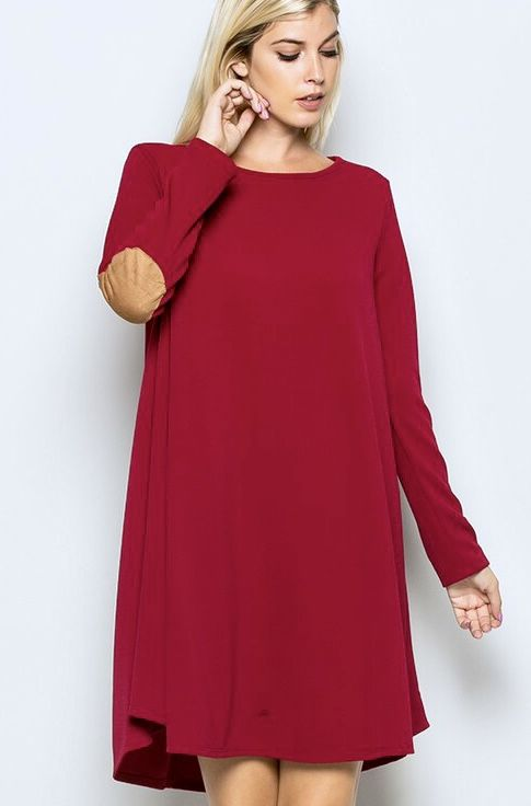 Solid Dress with Suede Elbow Patch