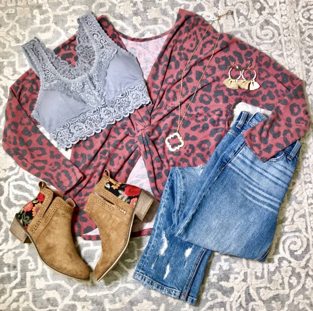 Leopard Twisted Knot Top- More Colors