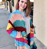 Multi Colored Striped Fringe Cardigan