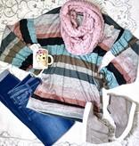 Multi Colored Stripe Bishop Sleeve Top