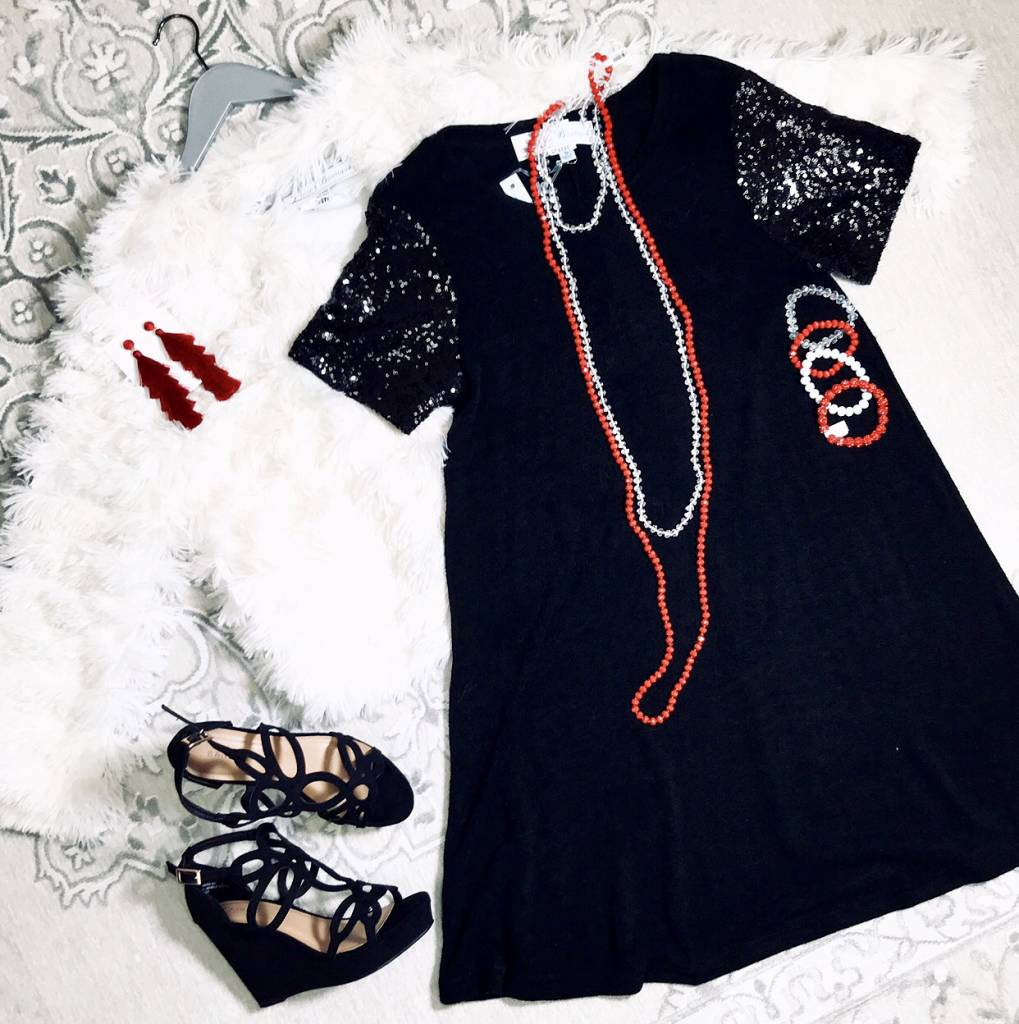 Black SS Knit Dress with Sequin Sleeves- SALE ITEM