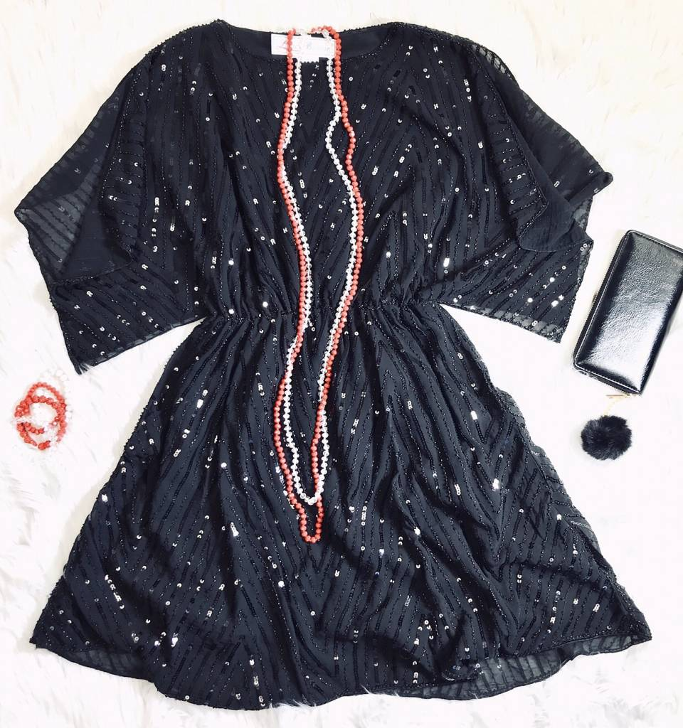 Black Sequin Dress with Cinched Waist