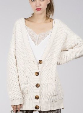 Cream Button Down Chenille Cardigan
